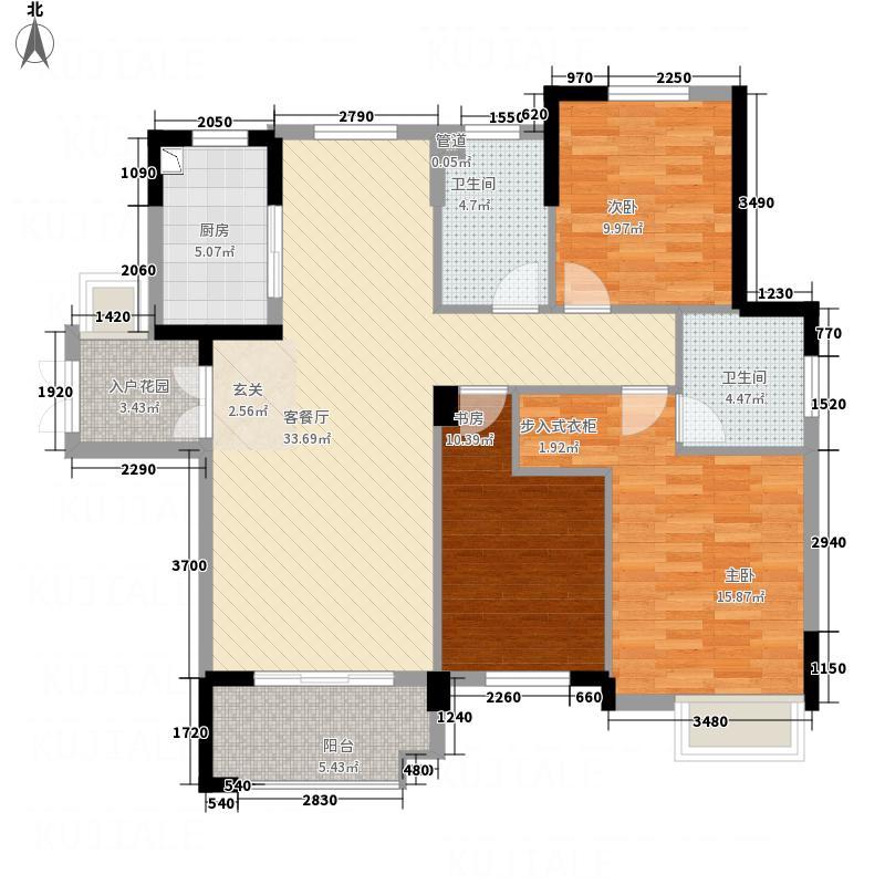 屯浦阳光132.71㎡A1户型3室2厅2卫2厨
