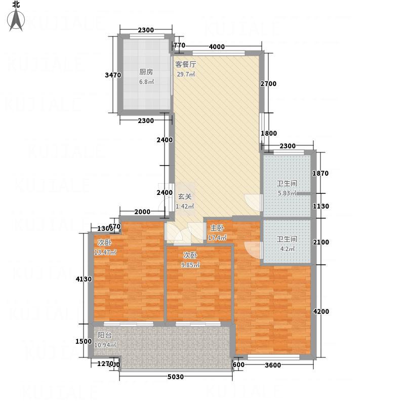 太和新苑32131.42㎡E户型3室2厅2卫1厨