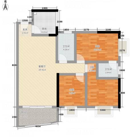 金碧花园3室1厅2卫1厨109.00㎡户型图