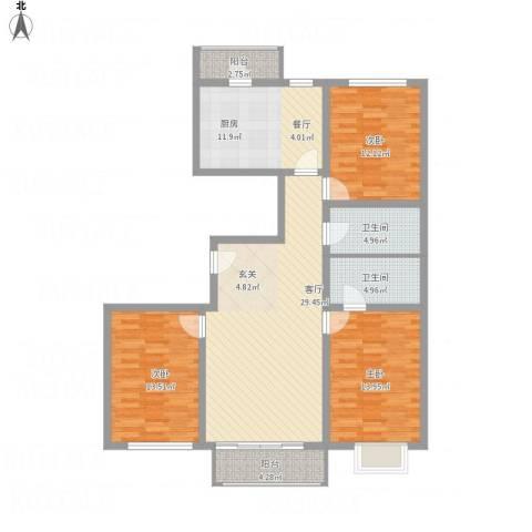 西京府3室1厅2卫1厨140.00㎡户型图