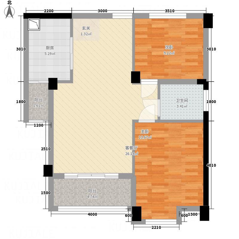 中海蓝湾C1户型2厅1卫