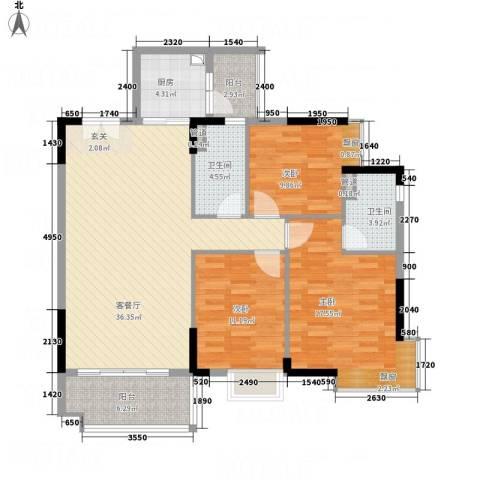 御品蓝湾3室1厅2卫1厨115.00㎡户型图