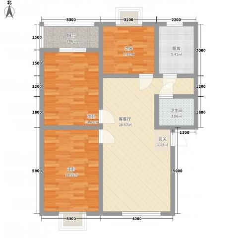 昌华东门逸都3室1厅1卫1厨110.00㎡户型图