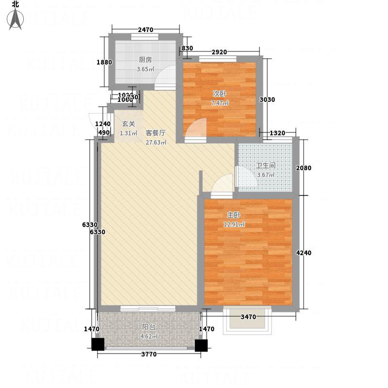 泰晤士小镇86.63㎡B'户型2室2厅1卫1厨