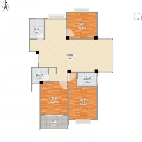 东城国际3室1厅2卫1厨129.00㎡户型图