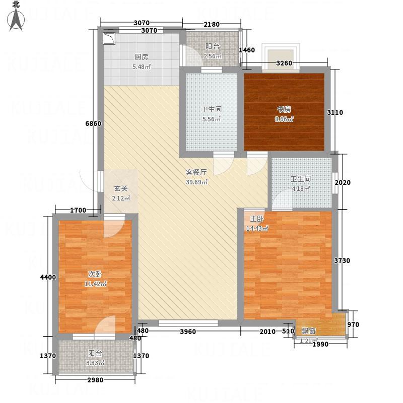华林逸墅127.81㎡L户型3室2厅2卫1厨