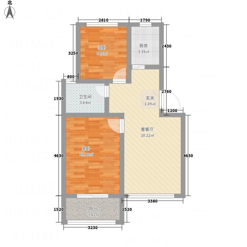 万通・竹香园76.14㎡D户型3室2厅1卫1厨