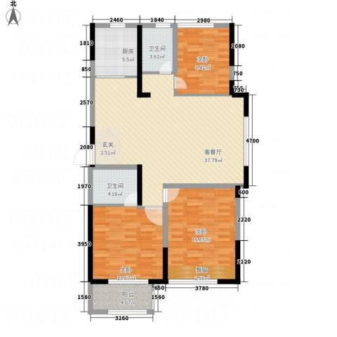 万象城3室1厅2卫1厨134.00㎡户型图