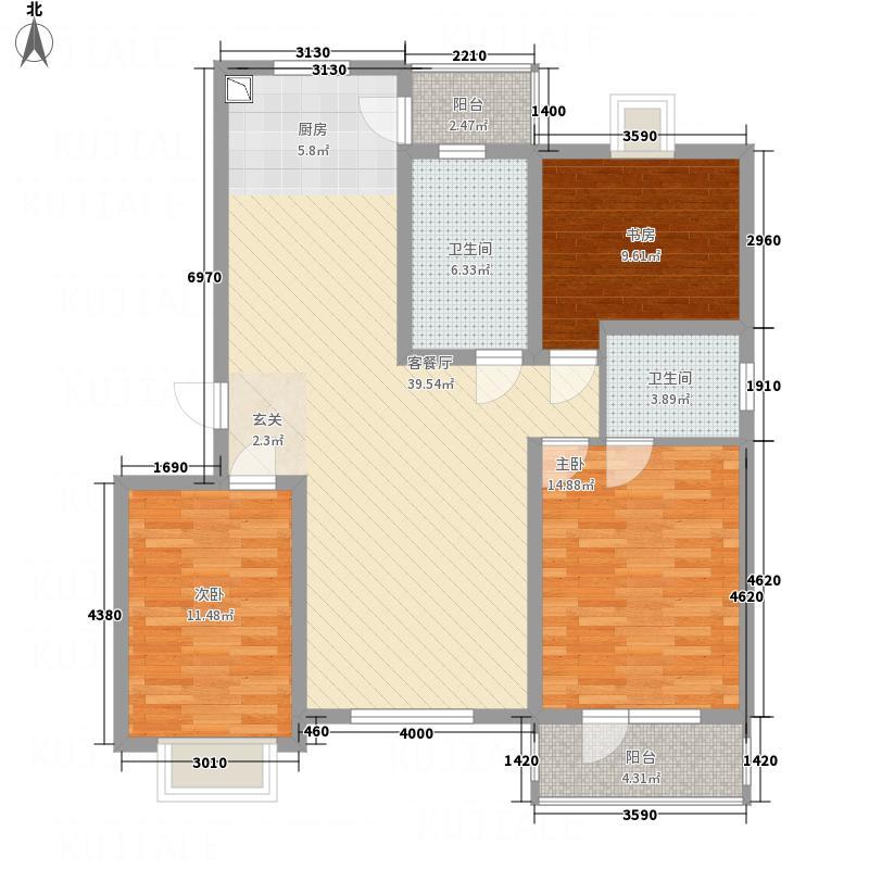 华林逸墅128.00㎡B户型3室2厅2卫1厨