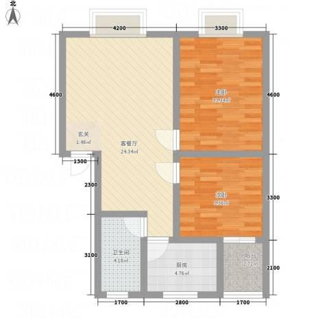 昌华东门逸都2室1厅1卫1厨85.00㎡户型图