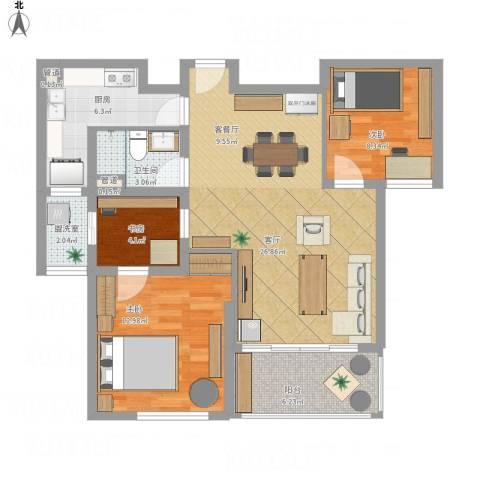 中大简界3室2厅1卫1厨102.00㎡户型图