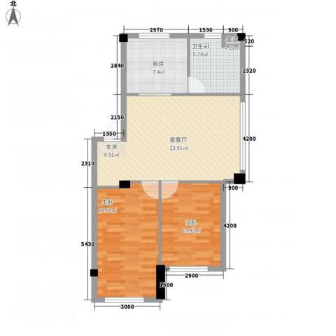 云鼎家园2室1厅1卫1厨81.00㎡户型图
