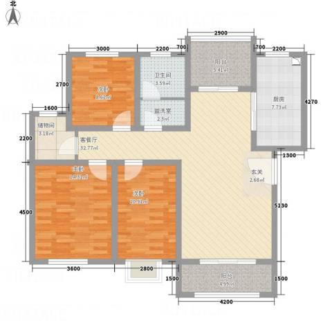 海通时代康桥3室2厅1卫1厨136.00㎡户型图