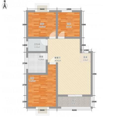 昌华东门逸都3室1厅1卫1厨109.00㎡户型图