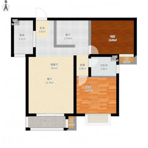 简筑2室1厅1卫1厨111.00㎡户型图