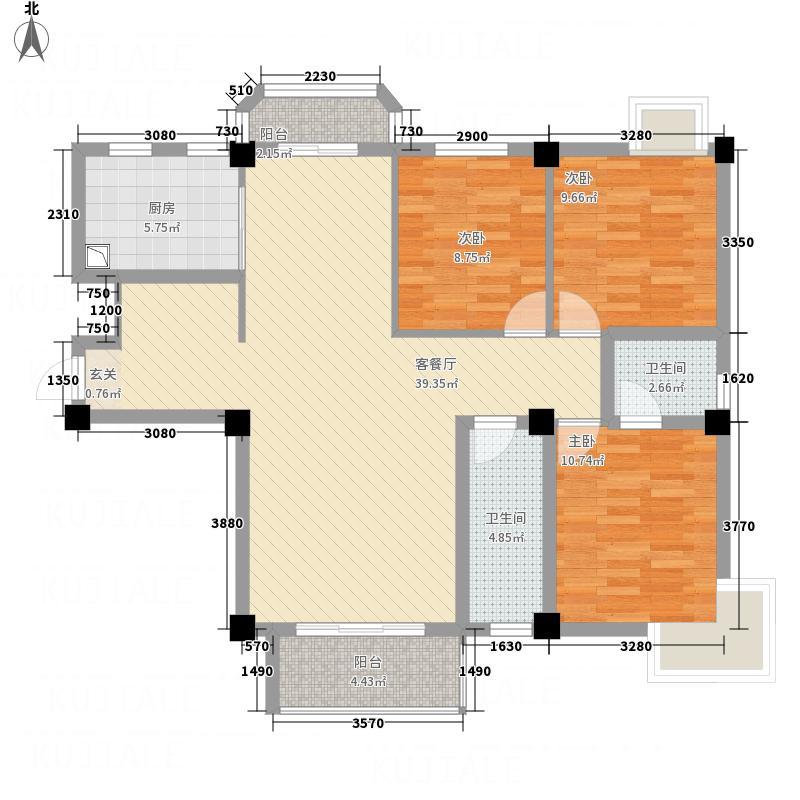 洪城时代广场128.00㎡户型3室