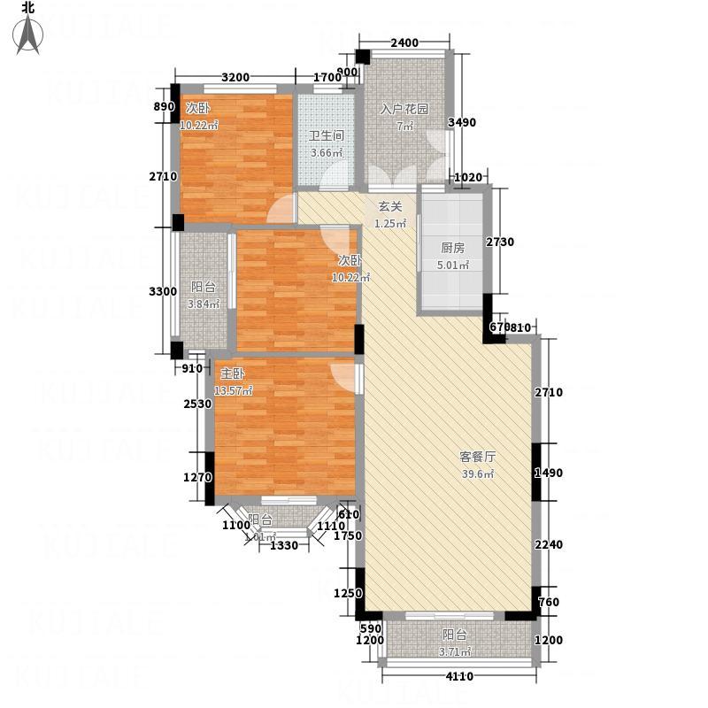 远大美域小镇117.00㎡五层边单位户型3室2厅1卫