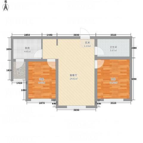 牡丹城2室1厅1卫1厨81.00㎡户型图