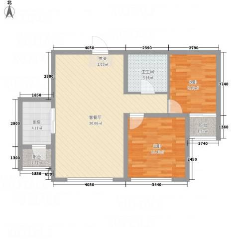 牡丹城2室1厅1卫1厨63.65㎡户型图