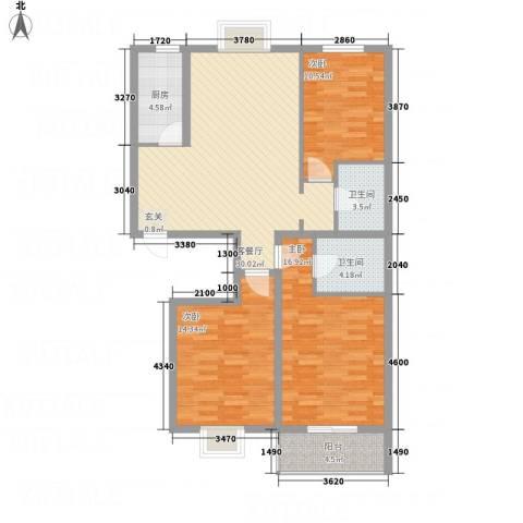 富世康园3室1厅2卫1厨126.00㎡户型图