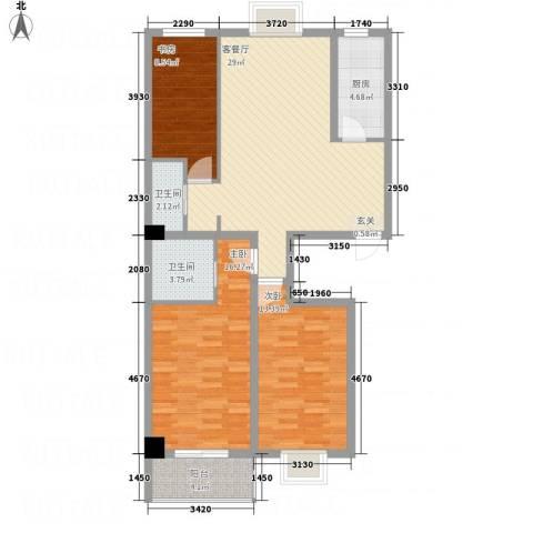 富世康园3室1厅2卫1厨93.54㎡户型图