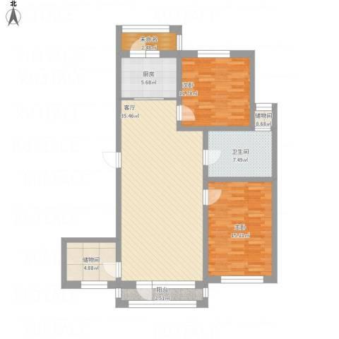 襄平蓝庭124.432室1厅1卫1厨126.00㎡户型图