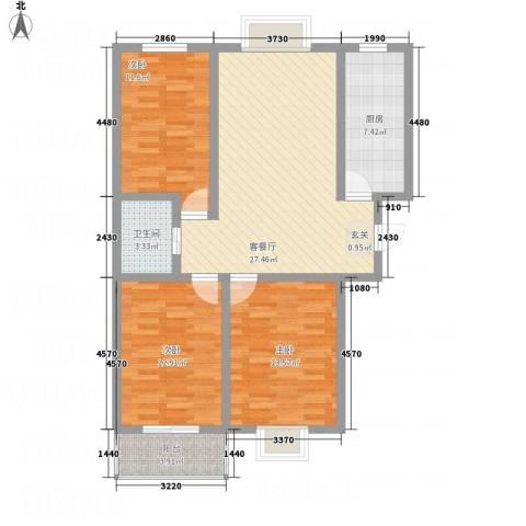 富世康园3室1厅1卫1厨91.90㎡户型图