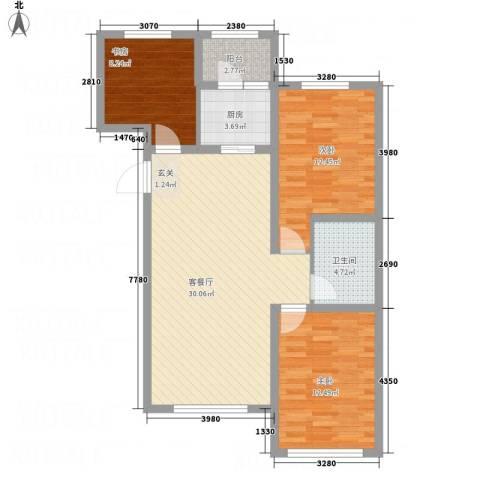 牡丹城3室1厅1卫1厨74.43㎡户型图