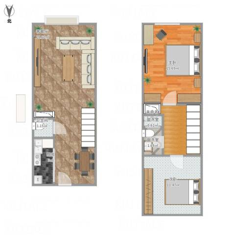 苹果新天地2室3厅1卫1厨94.00㎡户型图