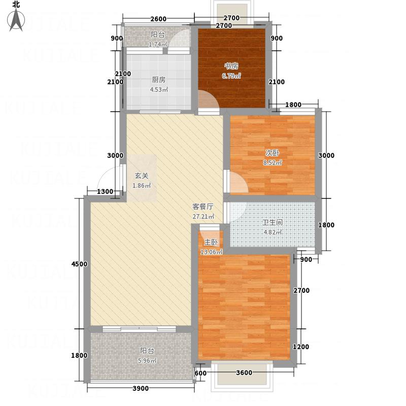 同立紫郡玫瑰园8.40㎡G户型3室2厅1卫1厨