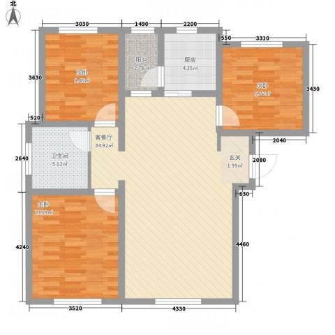 牡丹城3室1厅1卫1厨114.00㎡户型图