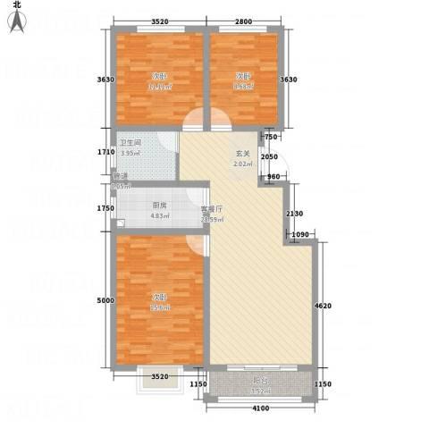 彩虹城3室1厅1卫1厨88.16㎡户型图