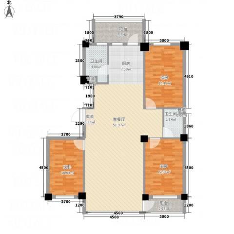 云鼎家园3室1厅2卫0厨142.00㎡户型图