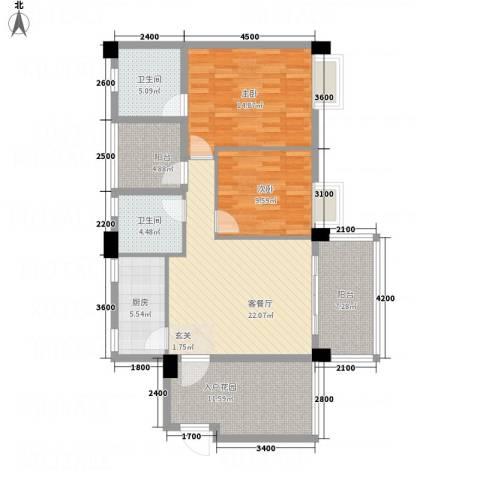 文泉翠满庭2室1厅2卫1厨85.41㎡户型图