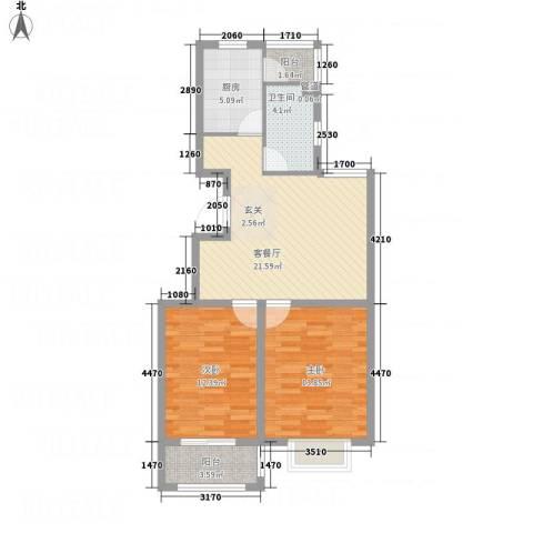 彩虹城2室1厅1卫1厨71.66㎡户型图