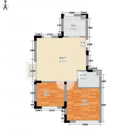信达-泉天下2室1厅1卫1厨48.55㎡户型图