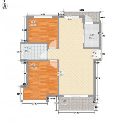 凤凰湖2室1厅1卫1厨85.00㎡户型图