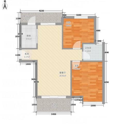 凤凰湖2室1厅1卫1厨86.00㎡户型图