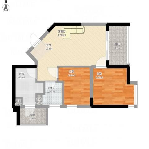 碧桂园十里金滩2室1厅1卫1厨67.00㎡户型图