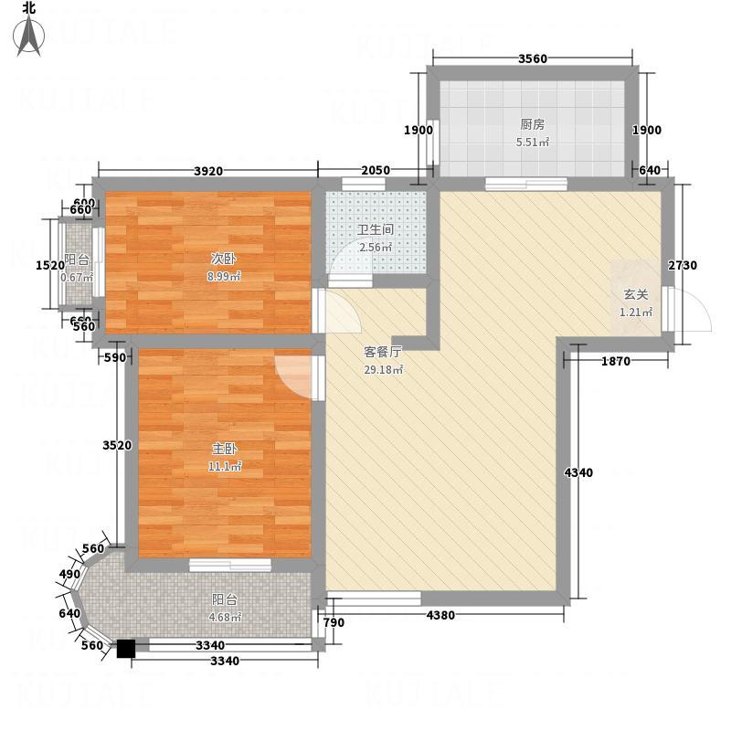 双峰锦湖锦湖E1户型2室2厅1卫1厨