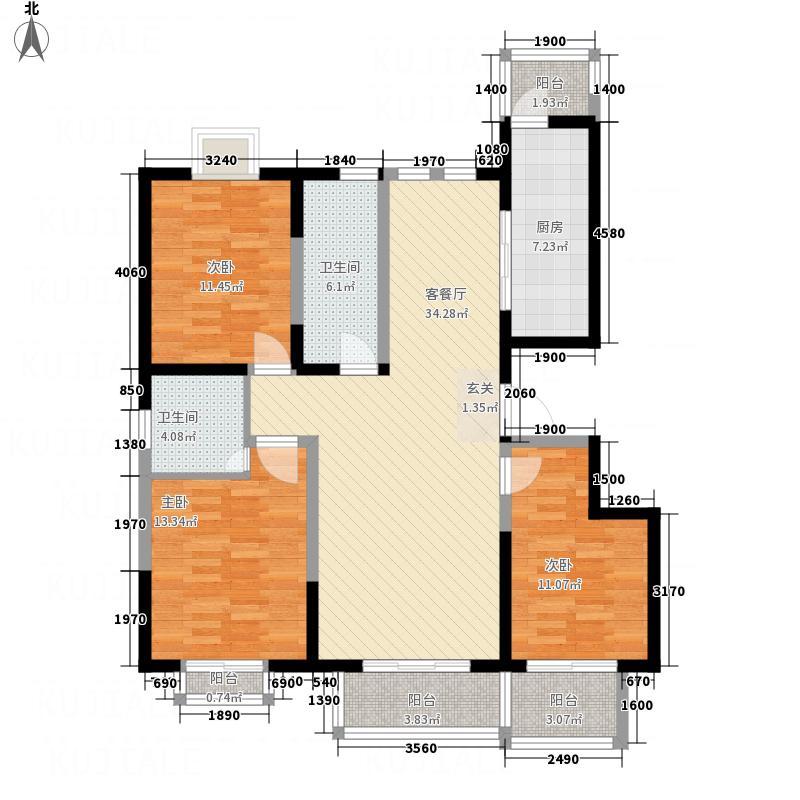 龙山水郡141.70㎡H1户型3室2厅2卫1厨