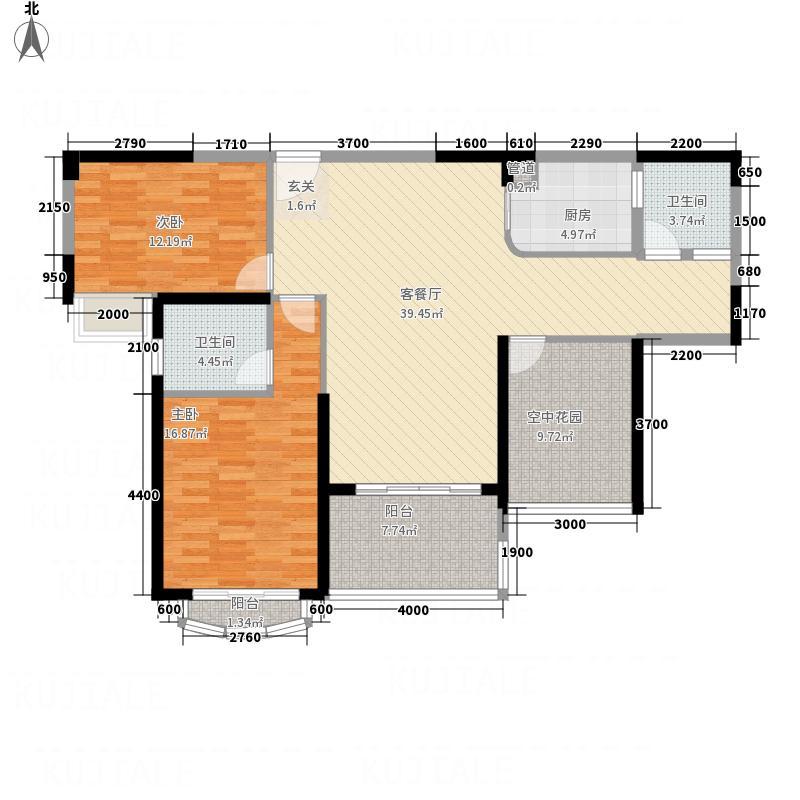金辉煌・领峰113.80㎡6栋02户型2室2厅2卫