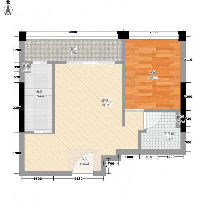 金辉煌・领峰44.21㎡4号楼05号房户型1室1厅1卫1厨