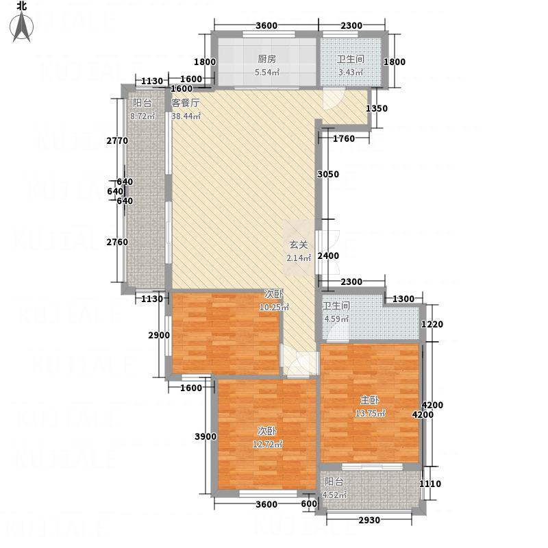 太和新苑32134.77㎡A户型3室2厅2卫1厨