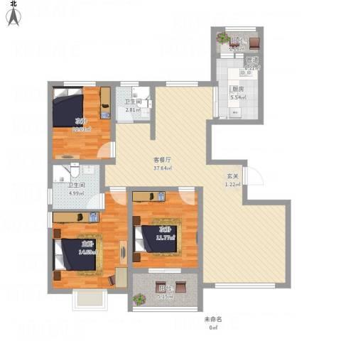 华府天地3室1厅2卫1厨138.00㎡户型图
