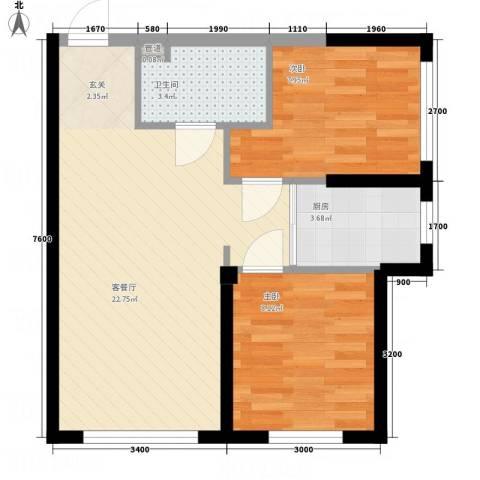 盛景红海河2室1厅1卫1厨66.00㎡户型图
