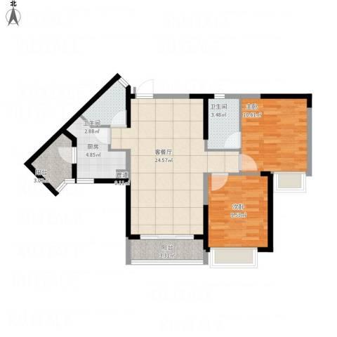 三正卧龙山一号2室1厅2卫1厨89.00㎡户型图