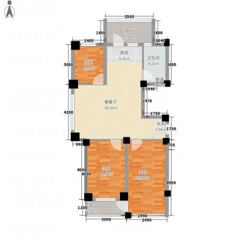 云鼎家园3室1厅1卫0厨75.07㎡户型图