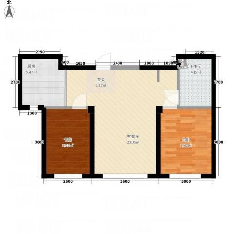 盛景红海河2室1厅1卫1厨72.00㎡户型图