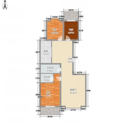 文华园竹韵3室1厅2卫1厨146.00㎡户型图